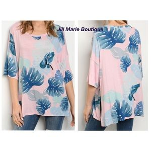 Palm tree leaf elbow length tunic top S, M, or L
